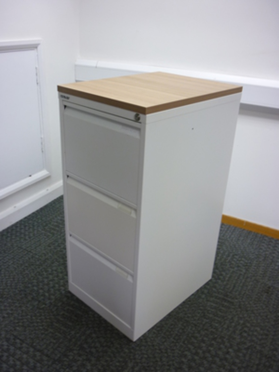 Bisley whitehavana wood 3 drawer filing cabinet