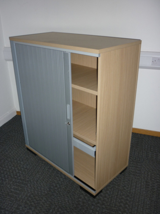 Senator 1200mm high oak tambour cupboard