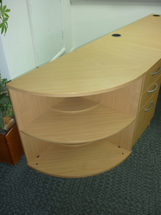 Elite beech 600mm radius quarter circle desk high bookcase