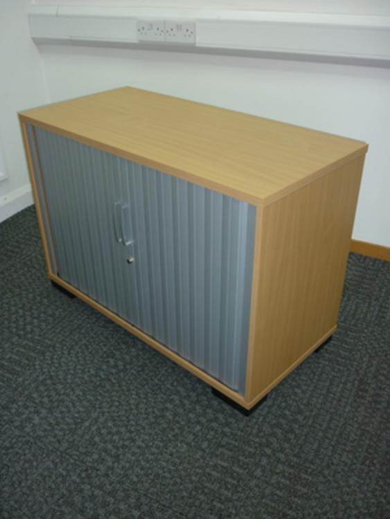 Elite desk high beech tambour cupboard