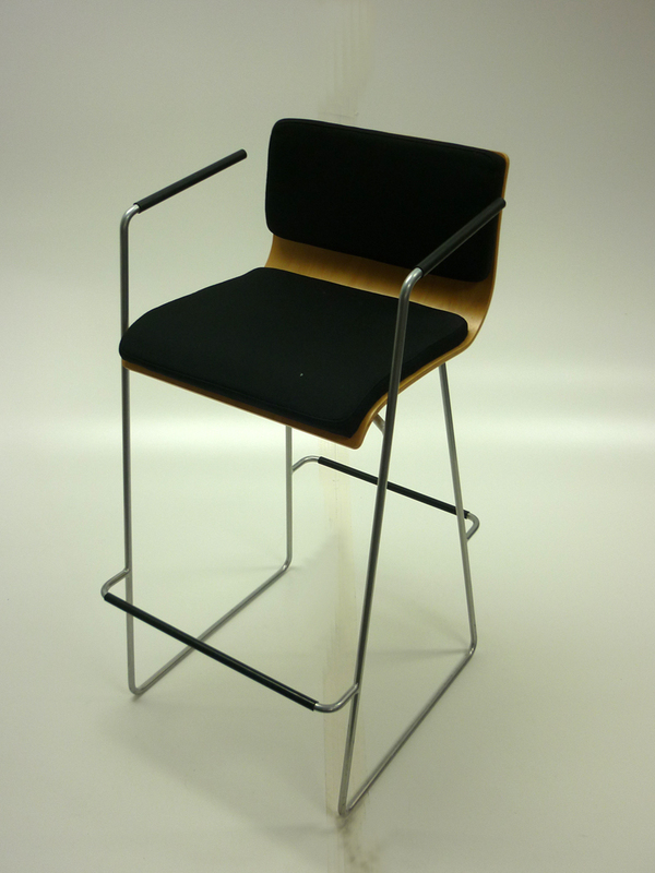Black fabricbeech plywood high stool