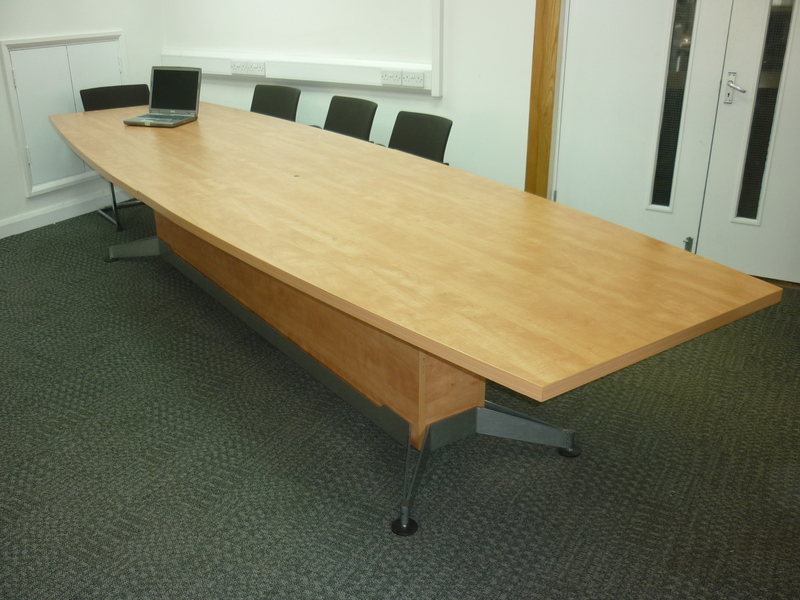 Cherry MFC boat shaped boardroom table CE