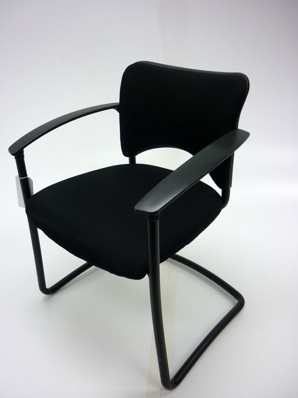 Black fabric with black frame cantilever meeting chair