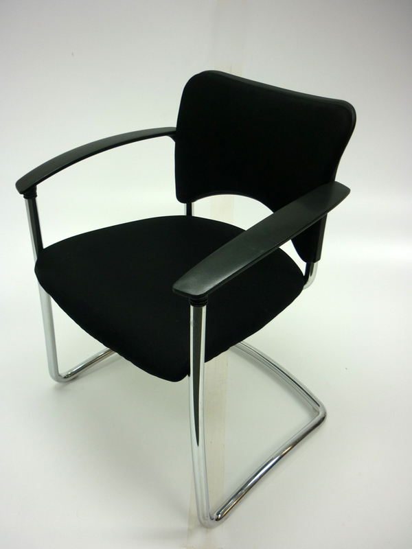 Black fabric with chrome frame cantilever meeting chair