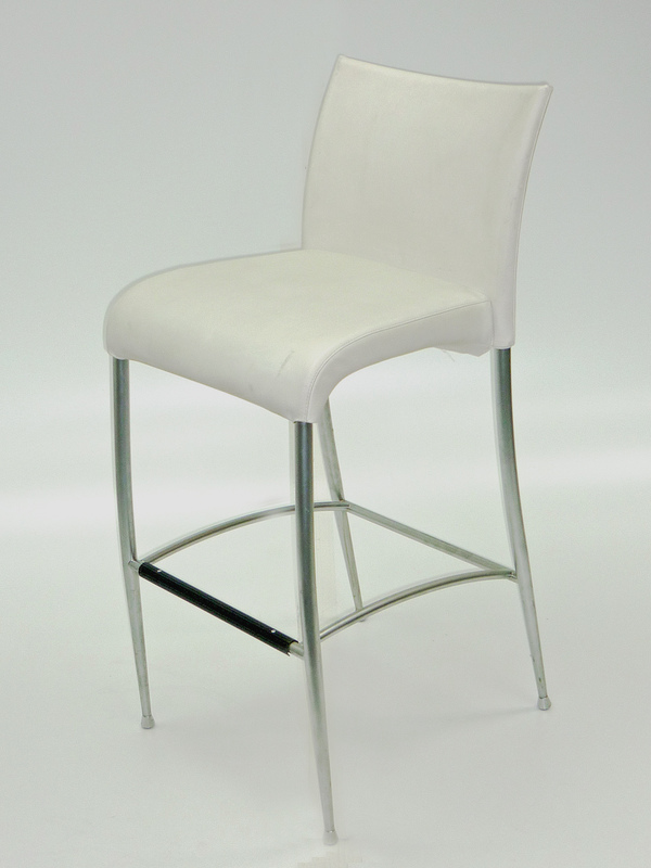 White faux leather stool