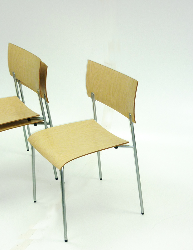 Piiroinen Salo natural plywood stacking chair