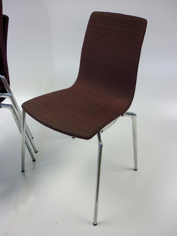 Burgundy striped stackable meeting chair