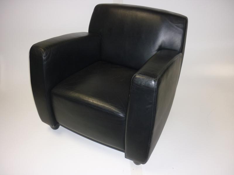 Whitmann black leather armchair