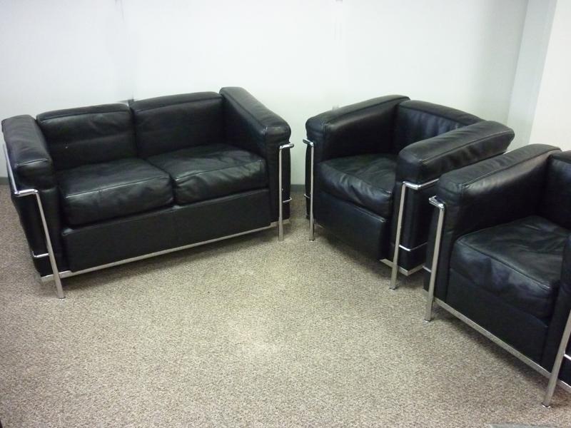Black leather Le Corbusier style 3 piece suite (CE)