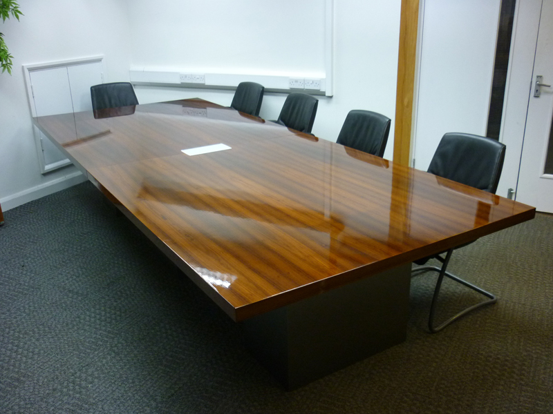 3600x1500mm high gloss walnut veneer table