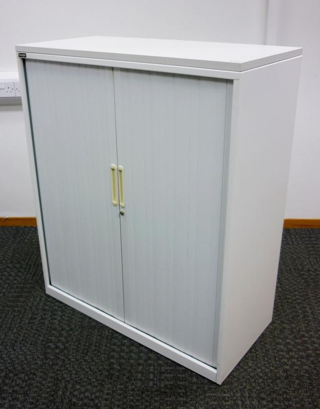 1200mm high Triumph white tambour cupboard