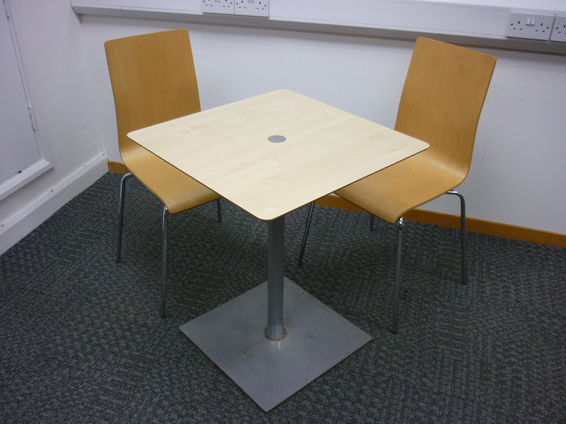 600x600mm Allermuir square maple cafe tables