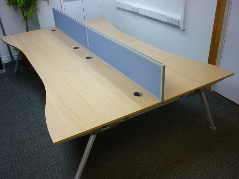 1600w x 1000/800d mm Oak Senator Core wave bench desking (CE)