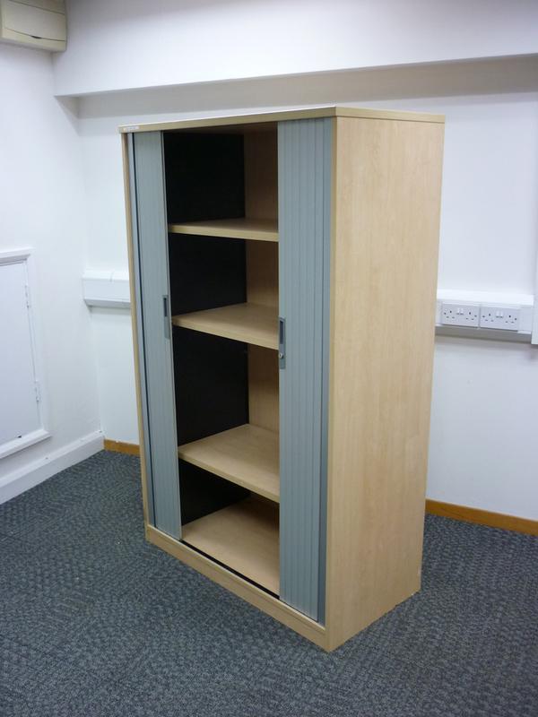 1600mm high Tangent Qore Maple tambour cupboard