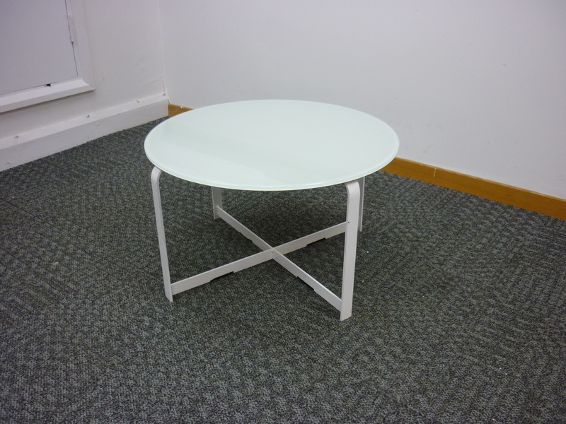 Low white glass top coffee table