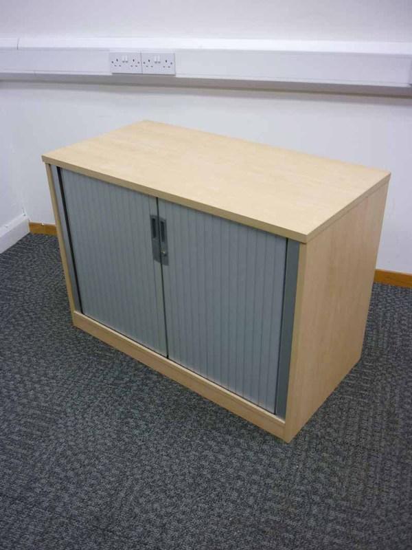Desk high Tangent Qore maple tambour front cupboard