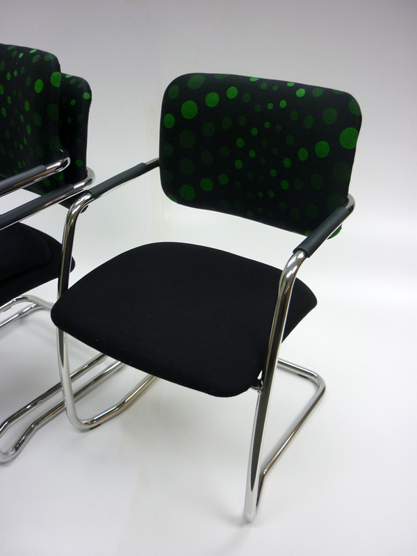 Black and green cantilever meeting chair