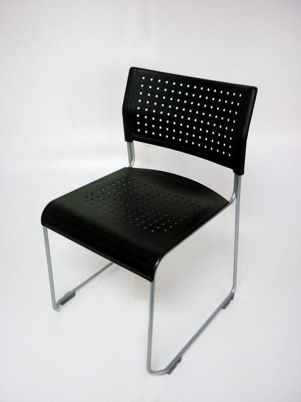 Steelcase black plastic stacking chair