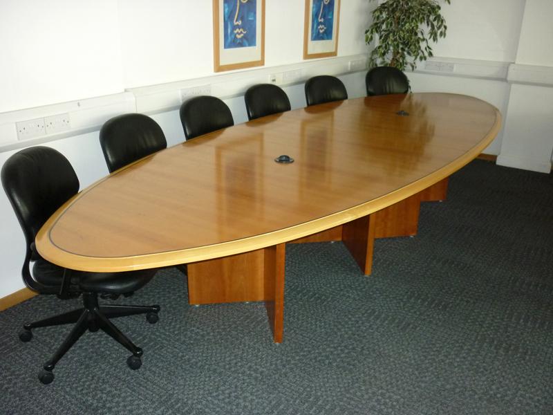 4300mm x 1500mm cherry veneer elliptical boardroom table