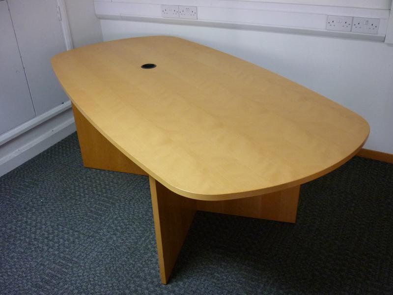 2050mm x 1050950mm Dencon beech veneer oval table