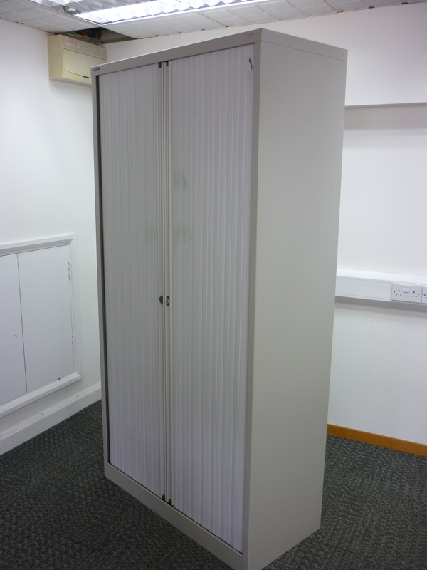 1970mm high grey Bisley tambour cupboard