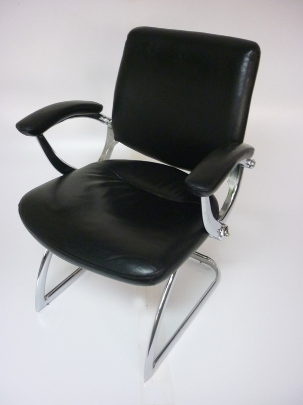 Black leather cantilever meeting chairs