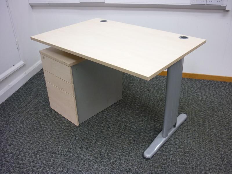 Mobili K2C maple rectangular desk 1200w x 800d mm