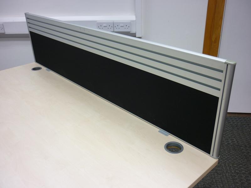Black 1600mm desk mounted screens