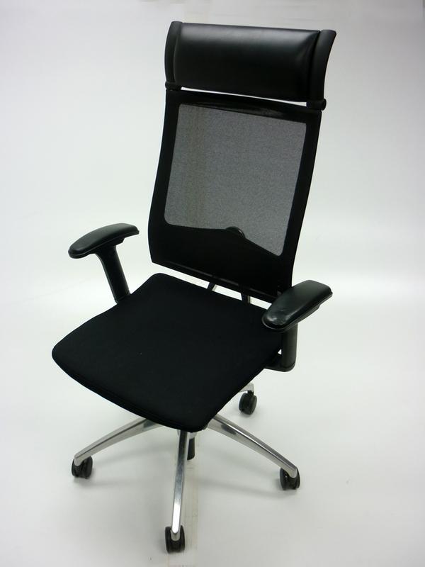 Black fabric mesh back Sedus Open Up task chair (CE)