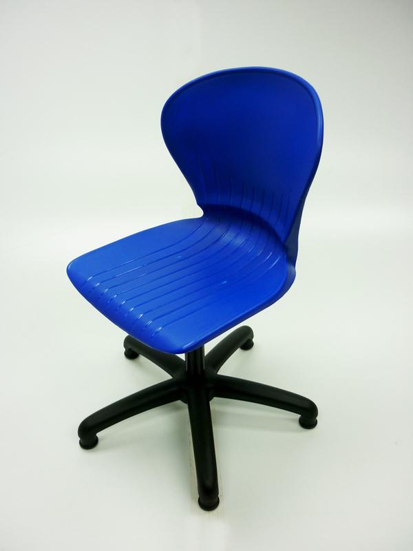 Blue plastic operator/classroom chair