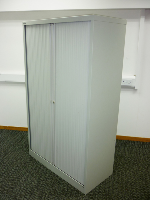 1650mm high grey Bisley tambour cupboard