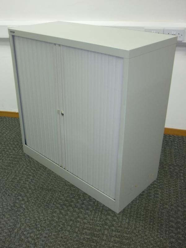 1015mm high grey Bisley tambour cupboard