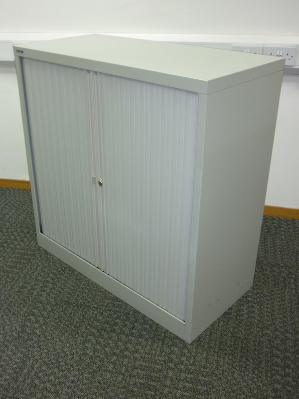 1015mm high grey Bisley tambour cupboard