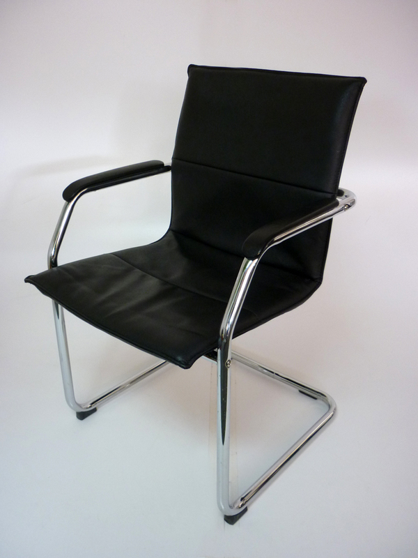 Black leather cantilever stacking chairs