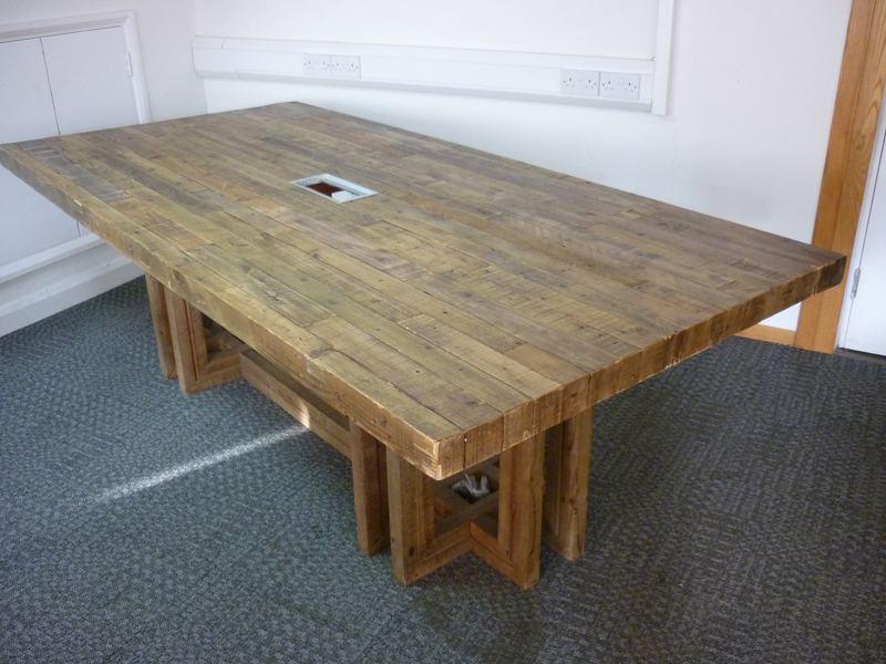2430mm x 1195mm reclaimed plank style boardroom table