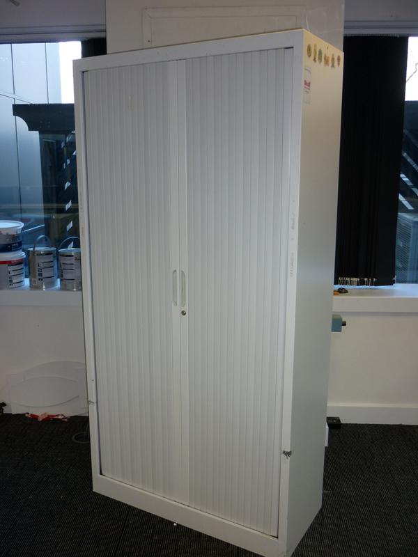 1980mm high white metal tambour cupboard