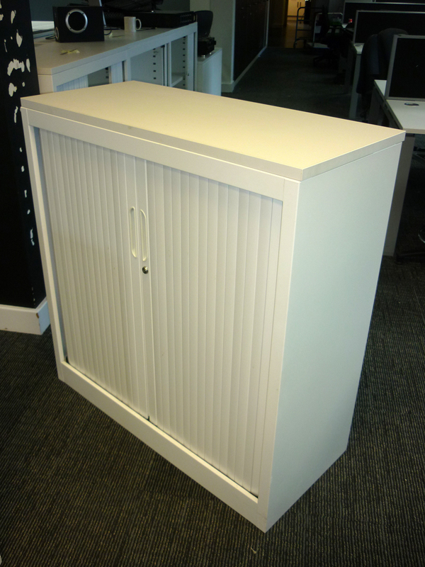 White tambour front steel cupboards
