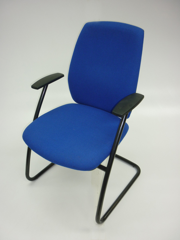 Blue cantilever chairs with arms