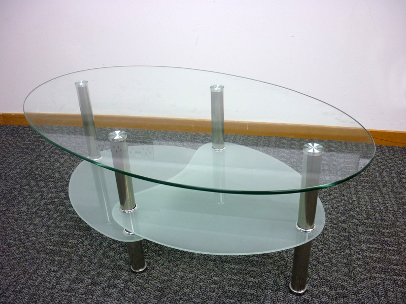 Oval glass coffee table (CE)