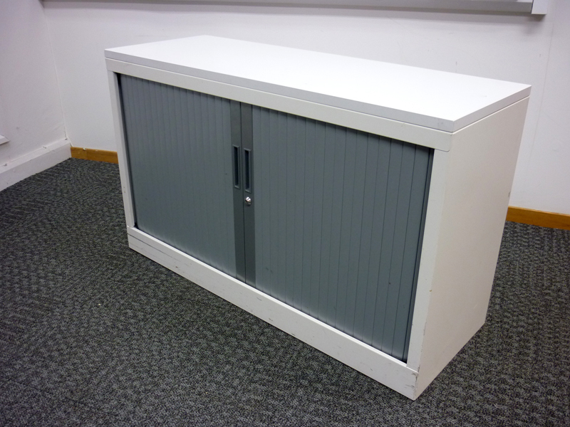 Desk high white tambour cupboard