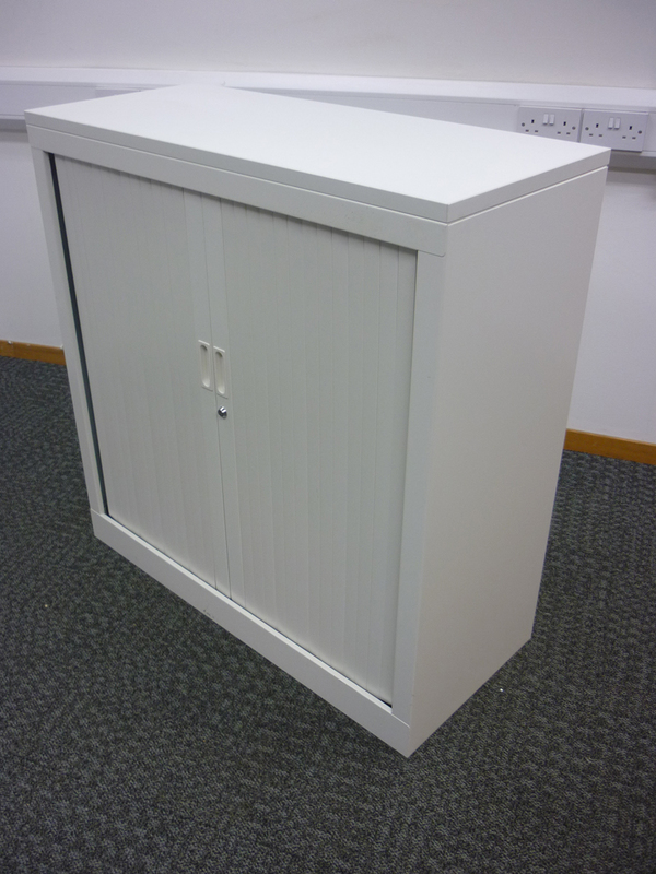 1020mm high white tambour steel cupboards