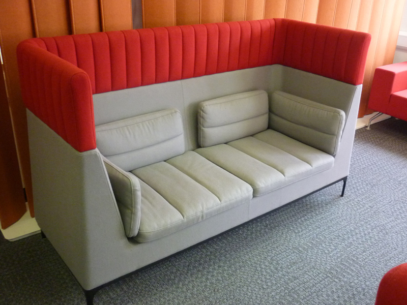 Allermuir Haven grey & red acoustic sofas (CE)
