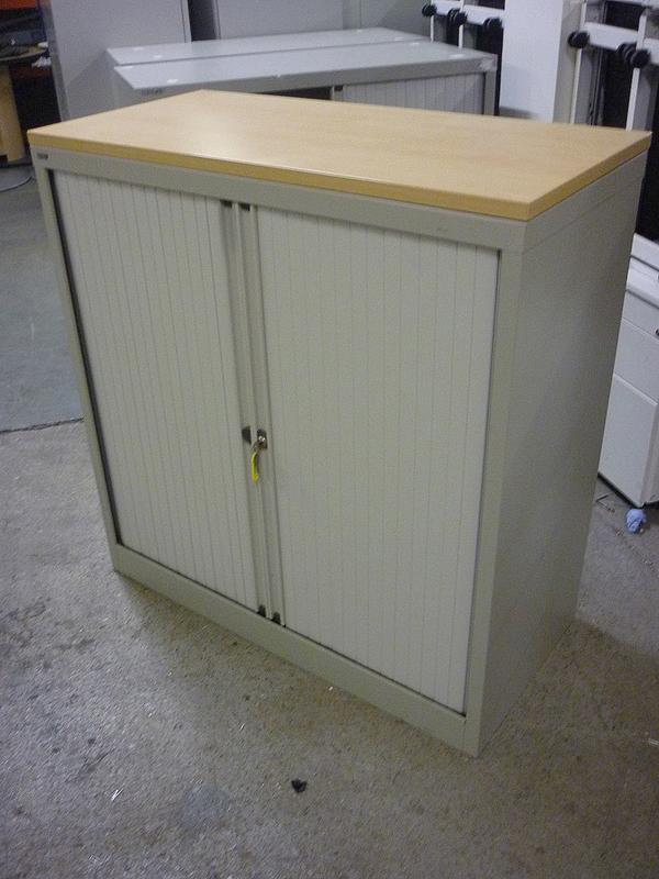 1040mm high grey Bisley tambour cupboard