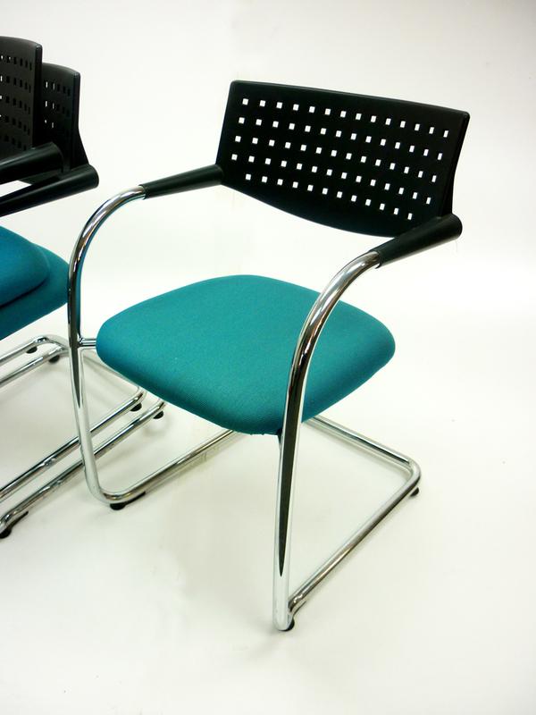 Green Vitra Visavis 2 meeting chairs