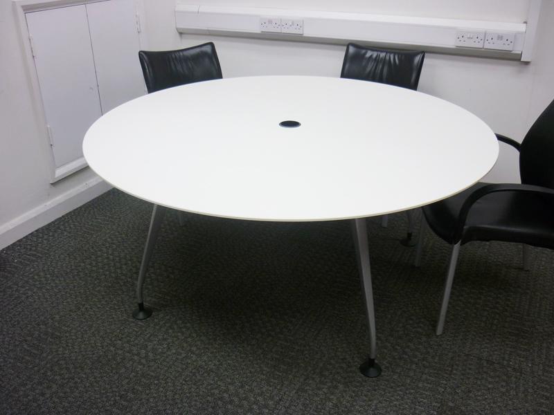 Circular white table