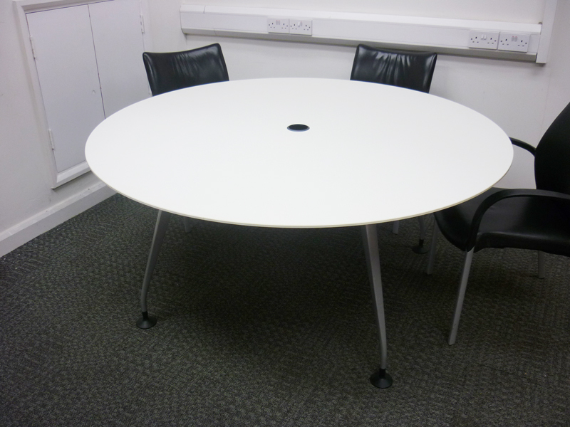 Circular white table