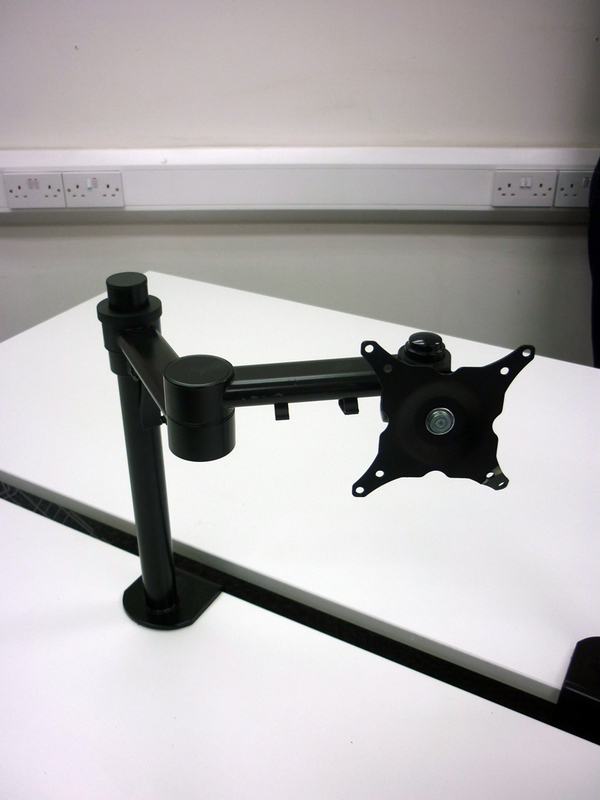 Black single monitor arms