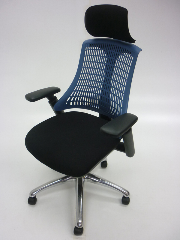 Dynamic Flex task chair with black base and blue back