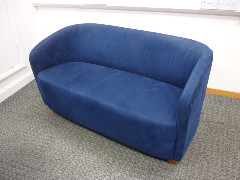Blue suede style fabric 2 seater tub sofa
