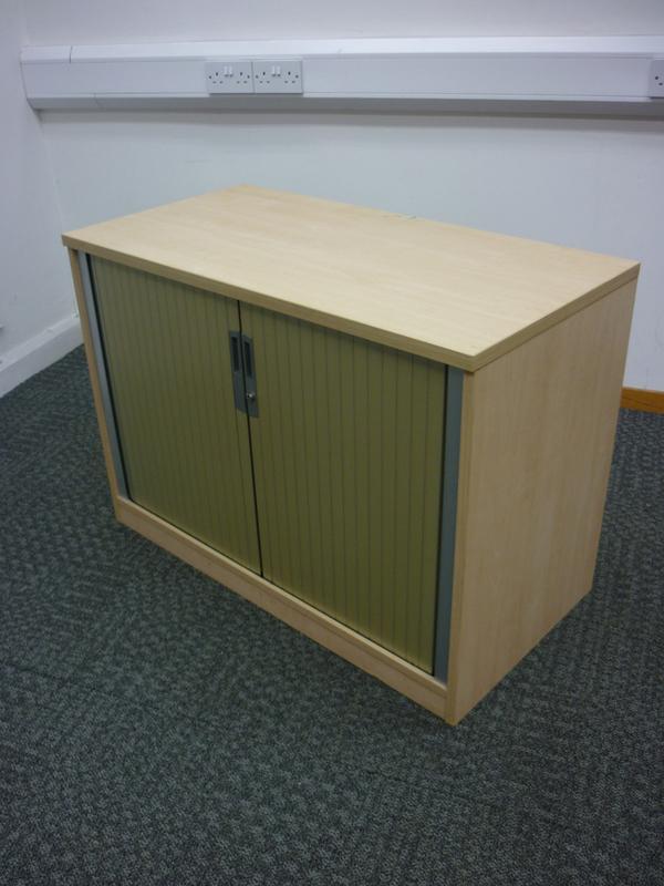 Ofquest maple desk high tambour cupboard